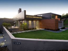 Modern House Design Ideas With Concrete Wall Fences Also Parking Area Also  Terrace And Plants Also ...
