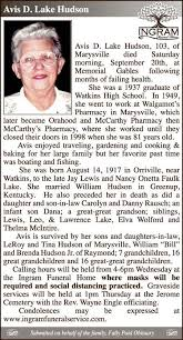 Avis D. Lake Hudson - Marysville Journal-Tribune