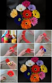 How To Make Paper Flower Bouquet Step By Step How To Make Paper Flowers Out Of Crepe Streamers 60th Birthday