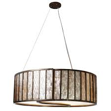 Affinity 5-Light New Bronze Drum Pendant with Towers of Natural Capiz
