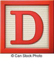 3d red letter block d vector clipart csp