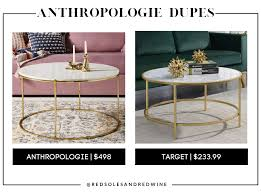 The natural oak legs of this statement coffee table add warmth to its luxe, polished marble tabletop. The 15 Best Anthropologie Furniture Dupes Red Soles And Red Wine