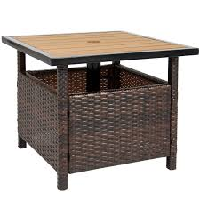 best choice s outdoor furniture wicker rattan patio umbrella stand table for garden pool deck brown com