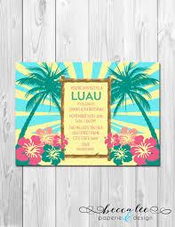 Luau Hawaiian Theme Party Invitation Diy By Beccaleepaperie 14 00