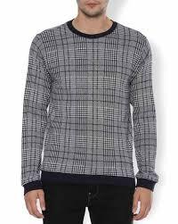 Checked Crew Neck Sweatshirt With Contrast Hems