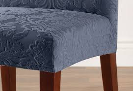 impressive sure fit stretch jacquard damask short dining chair covers throughout ordinary