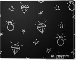 Obraz Vektorové Bezešvé Vzor S Snubní Prsteny Hvězdy A Drahokamy Old School Tetování Prvky Hipster Styl Na Plátně