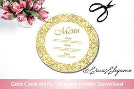 Round Menu Cards Round Reception Menus Art Deco Great Gatsby White And Gold Circle Menu Card Printable Wedding Menu Cards