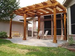 Exterior:Marvelous Wooden Pergola Design Ideas With Nice Six Pillars Also  Loveable Concrete Flooring And