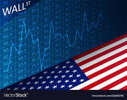 Stock Exchange Chart And American Flag