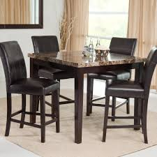 Rounded Marble Pub Table With Four Leather Upholstered Chairs Of Bar