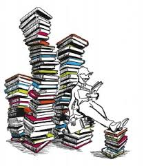 person reading lots of books in piles drawing symatt 261 300