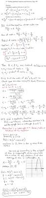 writing quadratic equations and functions