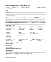 Sample Incident Report Form Injury Template Accident Nsw