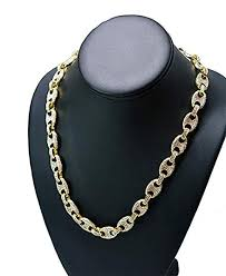 mens iced out hip hop gold finish cz 18 gucci link chain