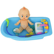 Plastic Baby Doll in Bath Tub with Shower Accessories Set Kids ...