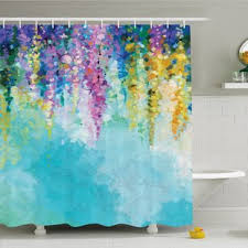 colorful shower curtains. Watercolor Flower Home Ivy Romantic And Inspiring Landscape Spring Floral Art Nature Theme Shower Curtain Set Colorful Curtains H