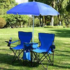 costway portable folding picnic double chair w umbrella table cooler beach camping chair 0