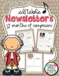 Music Newsletter Templates Music Newsletters With Composers Editable Templates For Each Month