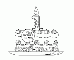 1st Birthday Cake Coloring Page For