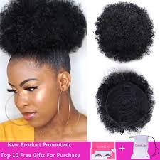 8 Pouces Court Afro Bouffée Cheveux Synthétiques Chignon Chignon Postiche Pour Les Femmes Cordon Queue De Cheval Crépus Bouclés Chignon Clip