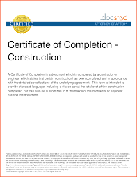 Certificate Of Completion Construction Templates Professional