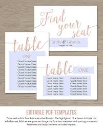 Seating Chart Cards Wedding Templates Rose Gold Printable