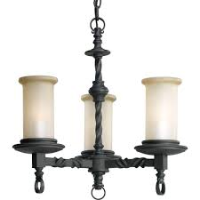 progress lighting santiago collection 3 light forged black chandelier with jasmine mist glass