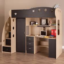 ... Furniture, NIKA Low Loft Beds Maple Black: Inspiring Loft Beds For Kids  And Adults ...