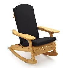 garden patio wooden rocking chair with black cushion