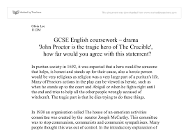 john proctor tragic hero essay the crucible is john proctor a tragic hero premium