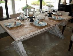 french style distressed country farmhouse dining table made from reclaimed wood painted with white chalk paint color ideas