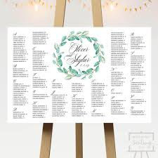Seating Chart Design Green Wreath Wedding Seating Chart 6 Designs