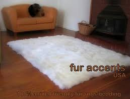 5x7 off white faux fur flokati sheepskin area rug