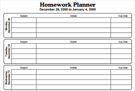 Student Assignment Planner Printable 15 Checklist Schedule And Planner Templates For Students