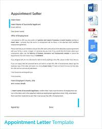 Applicant Appointment Confirmation Letter Successful Candidate