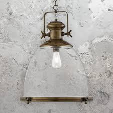 clear glass antique brass pendant light