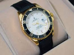 rolex black leather strap watch