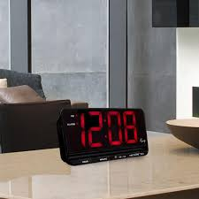 equity by la crosse extra large 3 in red led electric alarm table clock with hi lo settings 30401 the home depot