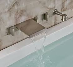 pretty design wall mount bath faucet rozin brushed nickel mounted waterfall bathtub mixer tap with handheld shower com