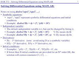 egr 272 solving diffeial equations using matlab