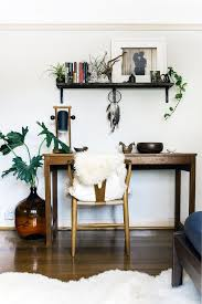 eclectic office furniture. Eclectic Home Office Space With Wood Desk Furniture And Nature Greenery Over Size Glass Vase Bamboo Chair Floating Wall