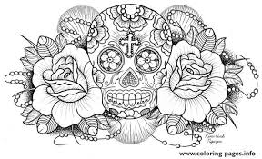 Small Picture sugar skull roses w cross Coloring pages Printable