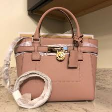 new 348 michael kors hamilton traveler leather medium pink gold satchel handbag