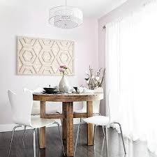 pink dining room with round rclaimed wood dining table with on whitewashed wood wall art with west elm whitewashed wood wall art hexagon design ideas
