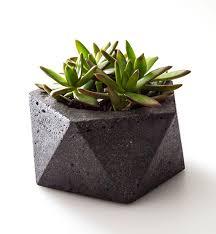 Geometric Dark Concrete Planter