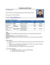 Resume Format For Freshers Resume Format For Mba Finance Fresher Doc ...