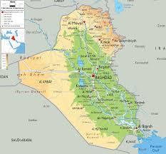 physical map of iraq  ezilon maps
