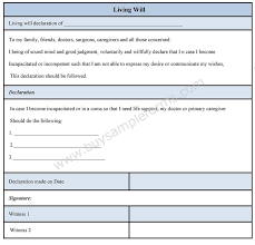 Living Will Form Sample Forms