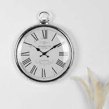 bedroom kitchen clock silver uk